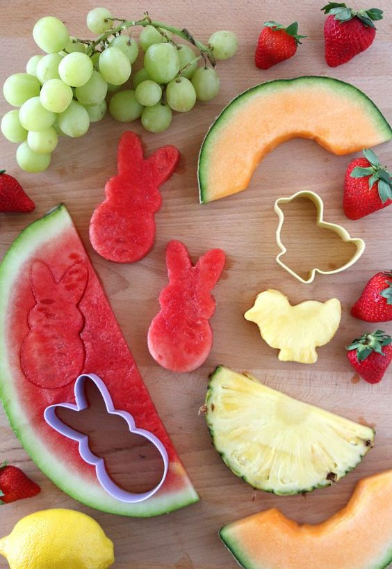 Easy Lemon Dip Recipe with Easter Themed Fruit! Fun party food idea for spring, a farm birthday party or Easter.: