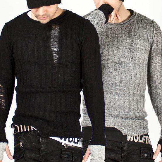 Tops - ★SOLD-OUT★ Asymmetric Stylish Distressed Slim-Fit Knit - 07 for only 45.00 !!!