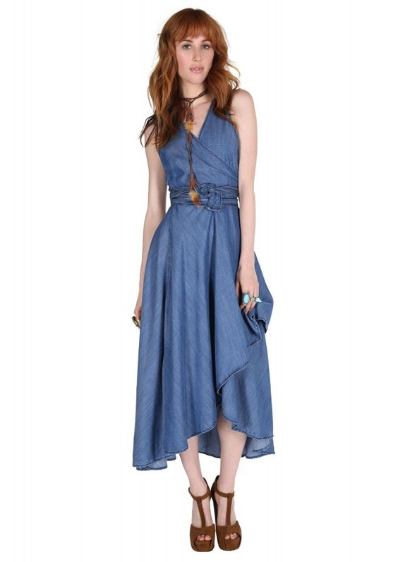 Margret Hilow Maxi Wrap Dress in Denim | Necessary Clothing