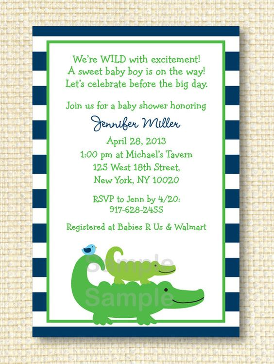 Preppy Alligator Baby Shower Invitation by LittlePrintsParties, $12.00