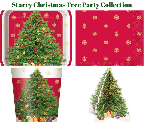 Starry Christmas Tree Party Banner