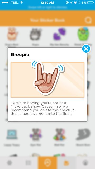 Groupie -  Check in at  a music venue category