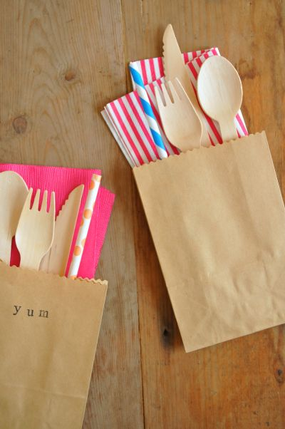 Picnic cutlery sets - brown paper bags, bambu cutlery, stripey straw and napkins - cute