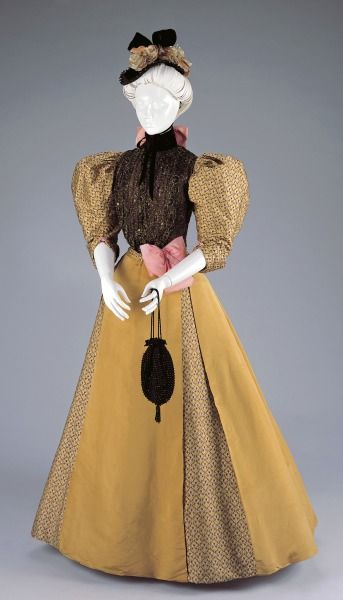 1896-1897, America - Afternoon Dress by H. & S. Pogue Co., Cinti - Silk, sequins, metallic thread, and velvet: