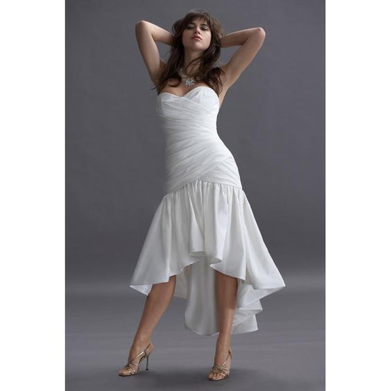 Short bridal gown strapless casual beach wedding dress for Long dress for wedding reception
