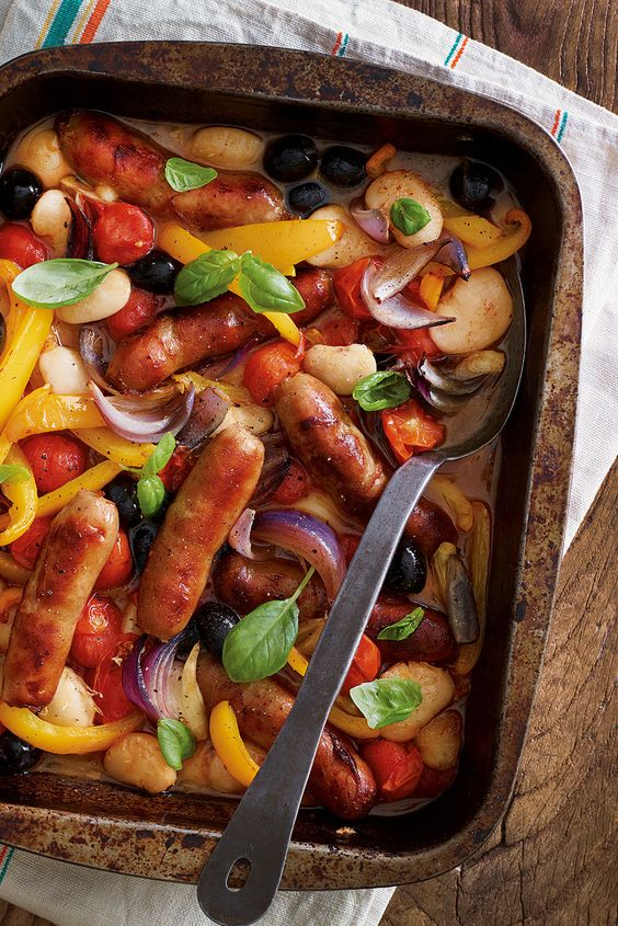 Maximum flavour, minimum washing up – try this all-in-one Tuscan-style sausage bake.