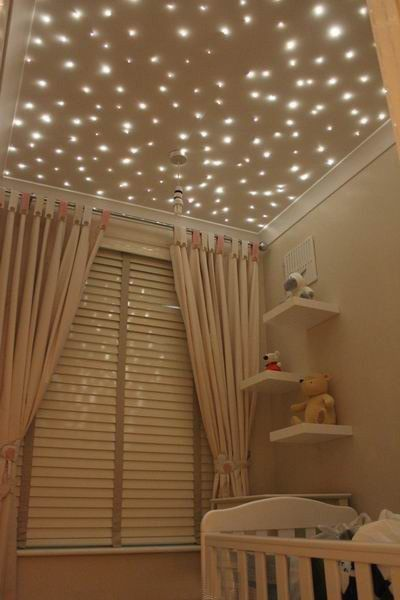CEILING--not lights, but glitter and speckled glow paint--blue, green, purple…
