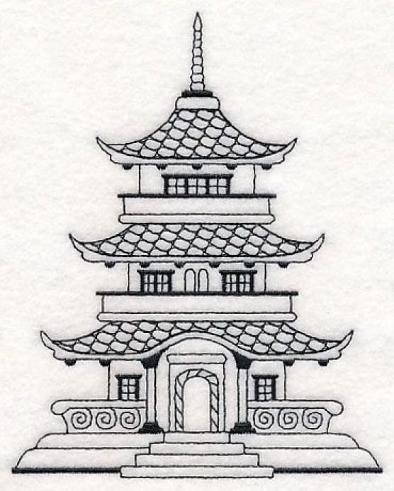 Blackwork Pagoda Machine Embroidery Design El Geishatattoos Geisha Tattoos Ste Sewing Embroidery Designs Japanese Embroidery Machine Embroidery Patterns