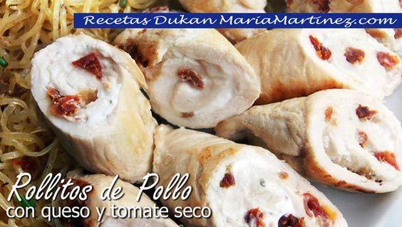 Rollitos de Pollo Dukan, rellenos de queso y tomate seco (Ataque)