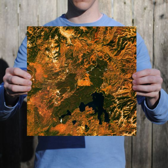 Abstract satellite art print of Ywllowstone National Park.