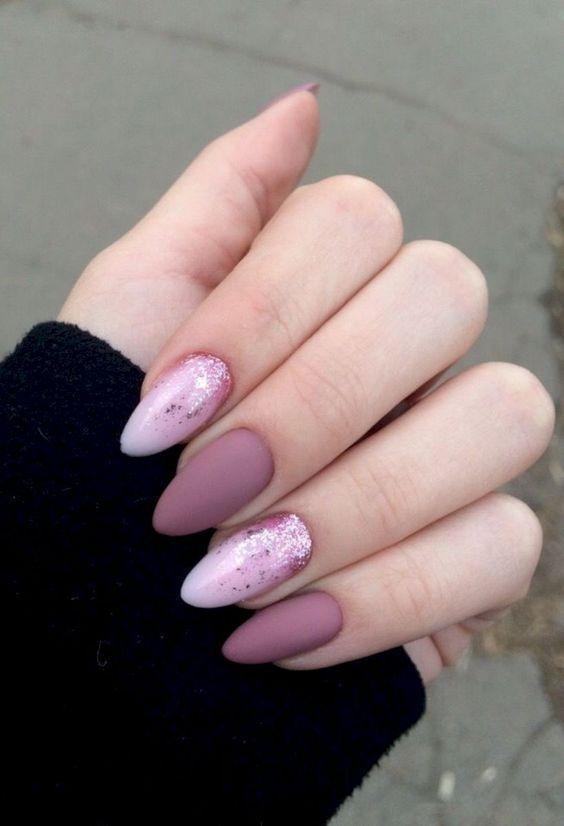 Awesome Acrylic Almond Nails Short Almond Nails Long Almond Nails 2019 Natural Almond In 2020 Pink Glitter Nails Fall Acrylic Nails Stylish Nails Art