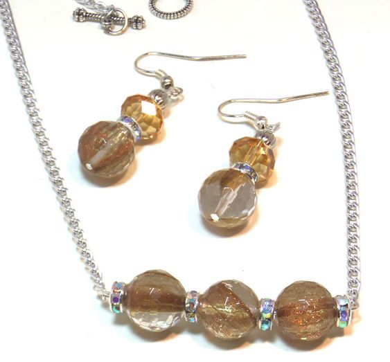 #gemstone Amber Horizontal #Necklace Set #ButterflysPin