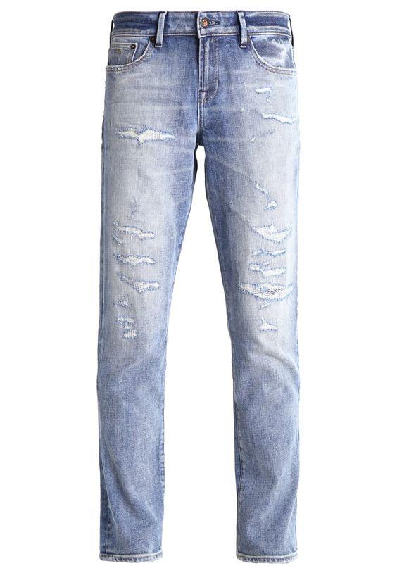 Denham MONROE Jeans Straight Leg destroyed denim Bekleidung bei Zalando.de | Material Oberstoff: 99% Baumwolle, 1% Elasthan | Bekleidung jetzt versandkostenfrei bei Zalando.de bestellen!