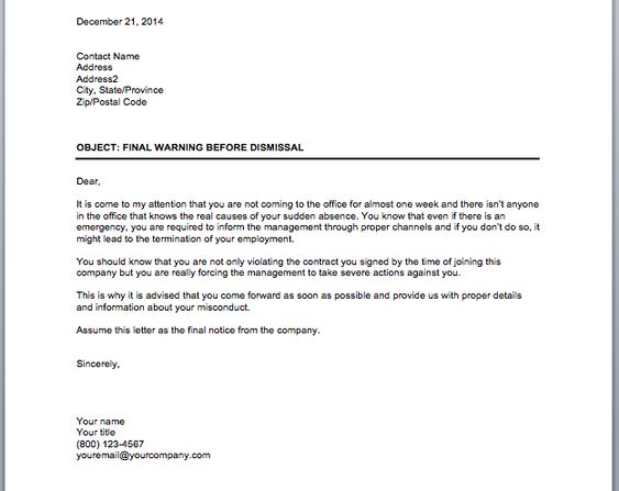 Warning Notice for Employees business tips Pinterest - final notice letter
