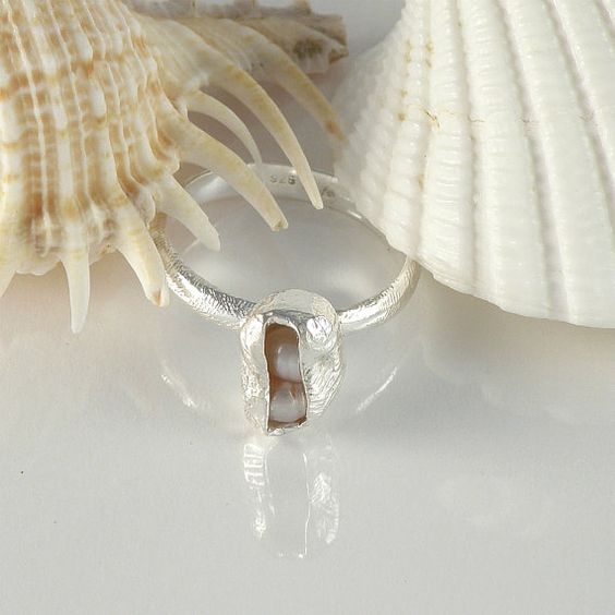 Pink Pearls Sterling Silver Ring June Birthstone by EfratJewelry, $49.00