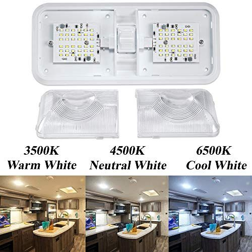 Leisure Led Rv Ceiling Double Dome Light Fixture With 3 Color Mode Switch Interior Lighting For Car Rv Trailer Camper Boat Dc 12v Warm Natural Cool White Multi Interior Light Fixtures Dome Light Fixture Rv Interior Light