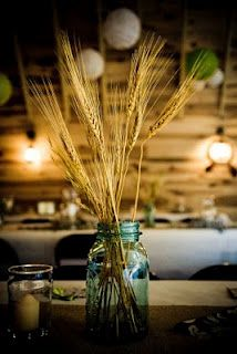 Pretty! Wheat and blue jars: