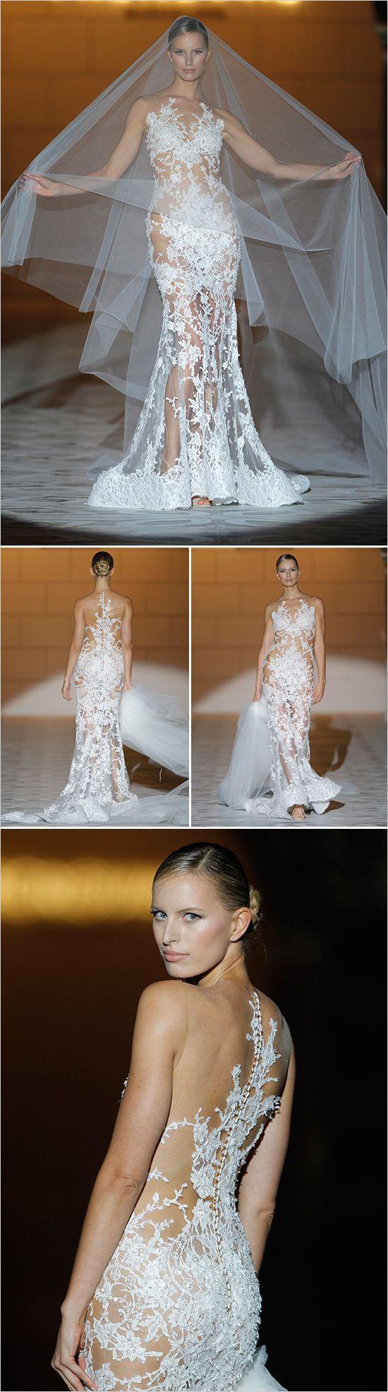 Karolina Kurkova In Pronovias lace sheath dress. ---> http://www.weddingchicks.com/2014/05/14/2015-pronovias-bridal-show/