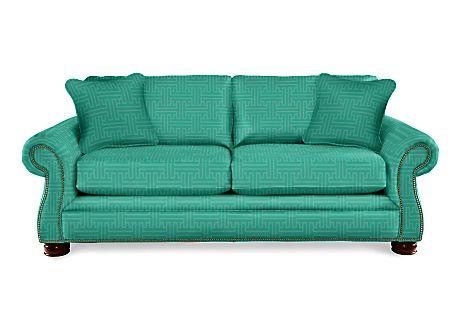 La-Z-Boy Pembroke Sofa in Juniper greek key pattern