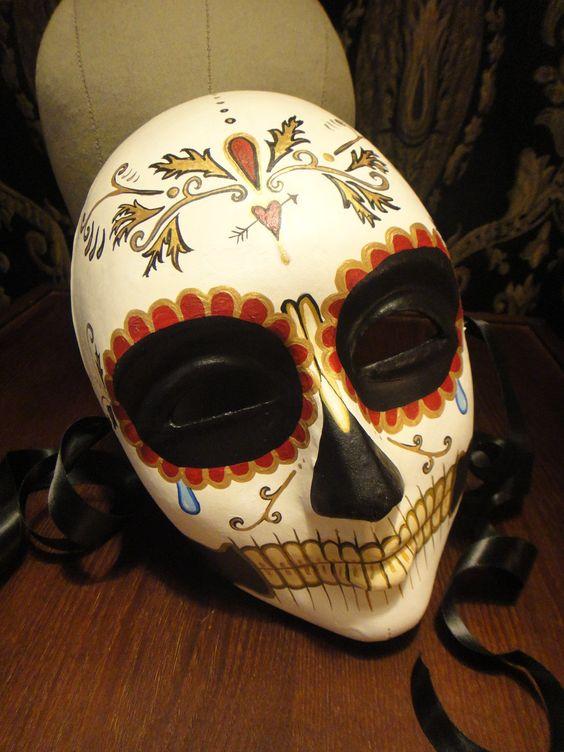 Elegant Day of the Dead Mask - Mans Groom Skull Venetian skeleton Dia de los muertos - custom order color and design of your choice. $98.00, via Etsy.: