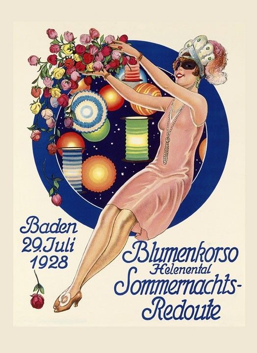 Fashion Mask Girl 1928 in Baden Germany Carnival Vintage Poster Repro FREE S/H in Art | eBay