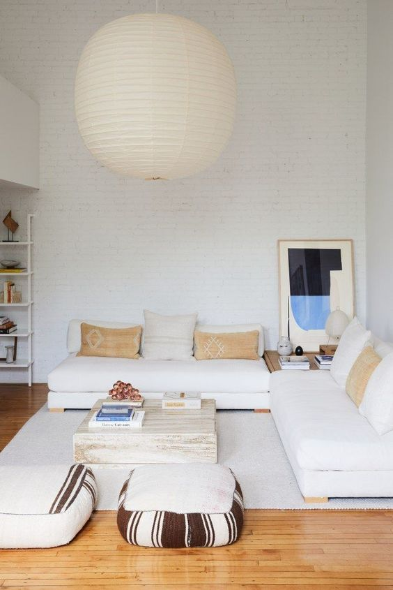 White living room.