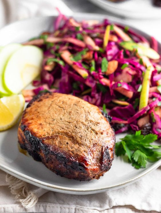 Air Fryer Pork Chops with Cabbage Apple Salad