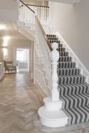 Hall edwardian love the striped stair carpet home Design ideas for hallways and stairs