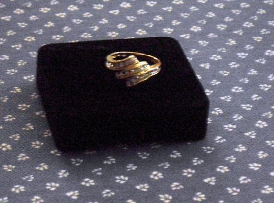 Diamond Ring Gold 10K by designfrills on Etsy, $125.00