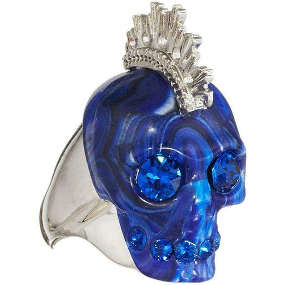 Alexander McQueen Skull Punk Plexi Ring found on Polyvore