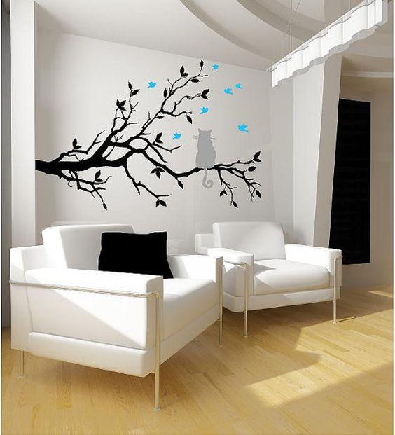 SALE- Cat on a tree branch- birds Vinyl Lettering  animal Decal wall art words graphics Home decor bedroom  itswritteninvinyl via Etsy