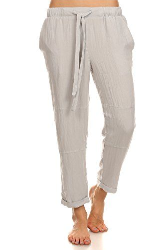 Jay - Grey Casual Cuffed Hem Linen Cropped Drawstring Pants * Find ...