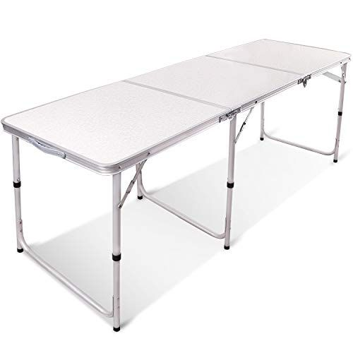 Redcamp 6ft Aluminum Folding Table 3 Fold Adjustable Height Portable Table For Camping Picnic Outdoor White 71 X23 5 X27 All4hiking Com Folding Table Aluminum Folding Table Camping Table
