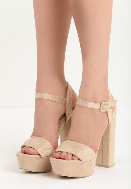 Sandale Bej Cu Platforma Jasmine Haine Ieftine Summer Shoes Heeled Mules Heels