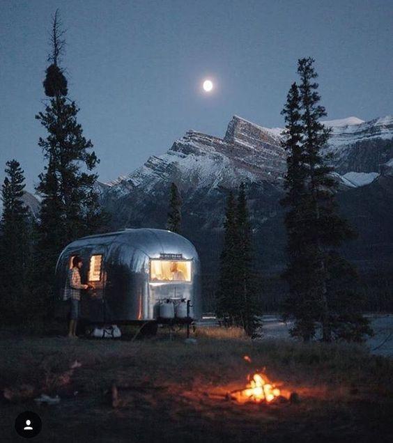 "RV Gems 🚎💨 on Instagram: ""#night shot by @bambino_the_airstream in #nordegg #alberta #canada. 🌝 #airstream #liveriveted #rvgems #rvlife #rvgems #homeiswhereyouparkit #rvliving #wanderlust #camp #fulltimerv #camplife #camping #travel #outdoors #nature #wandering #offthegrid #campvibes #nomad #boondocking #roadtrip #traveltrailer #gorving #gypsy"""