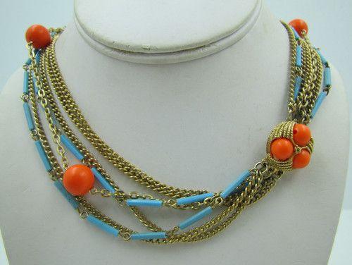 Vintage Aqua & Orange Seven Strand Multi Strand Lucite Bead Chain Necklace