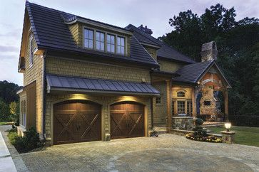 Really like the olive green cedar shake shingle with the brown trim,etc... nnovation House 2013 - Courtyard rustic-exterior