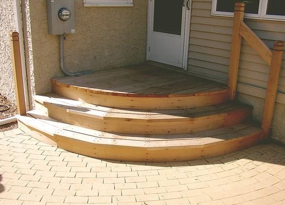 Curved landing and stairs for the back of the house not for Exterior stair design ideas