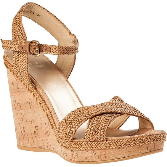 STUART WEITZMAN Minx Wedge Sandal Camel Leather (1.450 ARS) ❤ liked on Polyvore featuring shoes, sandals, wedges, camel, heels, kate middleton, wedge heel shoes, summer shoes, buckle sandals and platform heel sandals