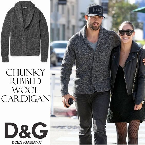 Jesse Metcalfe y su Chunky Ribbed Wool Cardigan de Dolce & Gabbana en West Hollywood, California | Male Fashion Trends