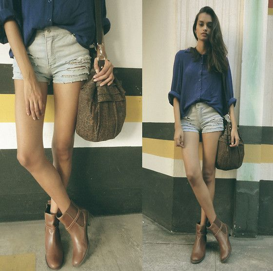 Brown boots (by Gizele Oliveira) http://lookbook.nu/look/3791329-brown-boots