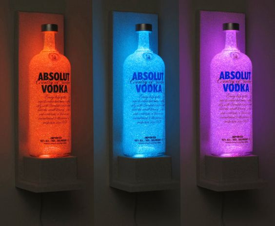 Going to to do this in my.  New modern white kitchen with led glass purple backsplash   , going to do it with all my alcohol making a led  lit colour shelves feature like this