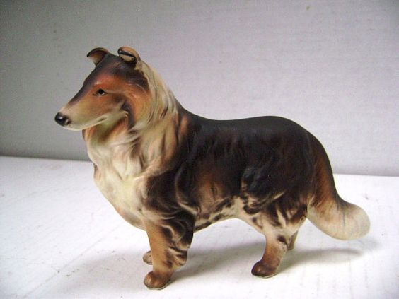 Vintage Collie Dog Figurine  Lassie Come Home by junquegypsy, $13.80