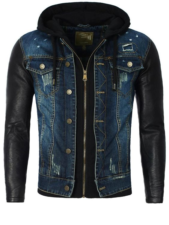 Denim jacket with leather sleeves for men
