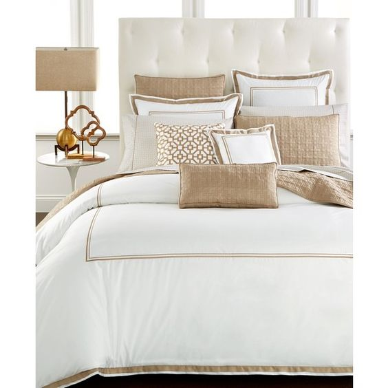 Hotel Collection Embroidered Frame Full/Queen Comforter, ($200) ❤ liked on Polyvore featuring home, bed & bath, bedding, comforters, champagne, egyptian cotton comforter, white embroidered bedding, hotel collection comforter, white comforter and white bedding