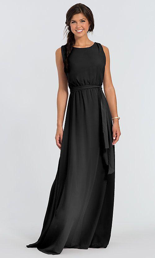 Removable Sash Chiffon Tina Long Bridesmaid Dress Limited Availability Bridesmaid Dresses Dresses Black Bridesmaid Dresses