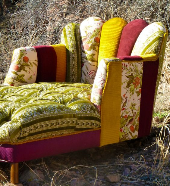 Upcycled boho chic furniture for the home furniture re for Chaise patchwork