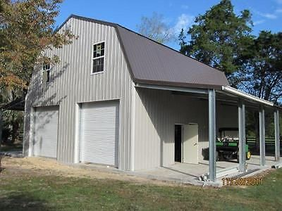 Details about steel gambrel building shell kit 2 floors for Gambrel roof metal building