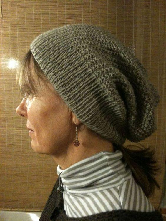 patron tricot bonnet tombant