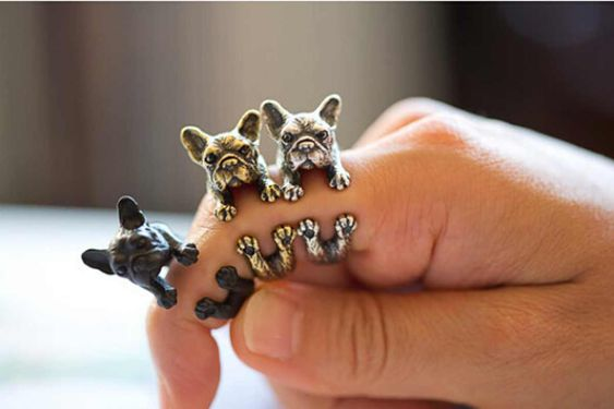 Retro French Bulldog Frenchie Jewelry Adjustable Wrap Around Dog Animal Ring